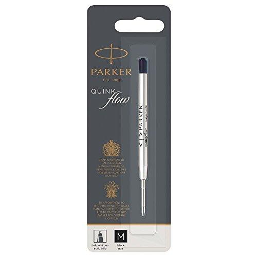 PARKER QUINKflow Ballpoint Pen Ink Refill, Medium Tip, Black ()