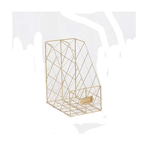 - Metal grid file holder data frame desk newspaper double-layer rack, gold