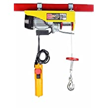SDT 440 LBS 200 KGS Mini Electric Wire Hoist with 110v Motor Remote Controlled for Garage Auto Shop Overhead Crane Lift by Steel Dragon Tools