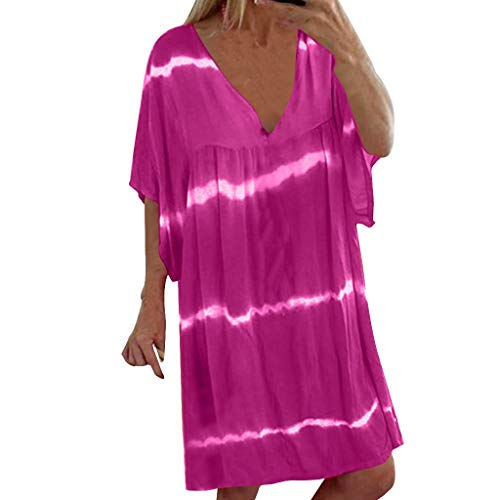 Aunimeifly Woman's Tie-Dye Top Casual Loose Large Size V-Neck Midi Dresses Ladies Summer Short-Sleeved Dress Sundress Purple