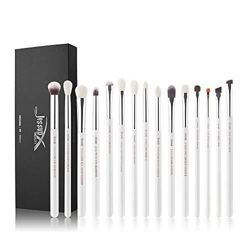 Jessup 15Pcs Pearl White/Silver Professional Makeup Brushes Set Make up Brush Tools kit Cosmetics Tools Eye Liner Shader Wood Handle Natural-synthetic Hair Brushes T237