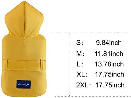 Avanigo Dog Wear Yellow Dog Raincoat with Pockets Dog Rain Jacket with Hood Rain//Water Resistant Stylish Premium Dog Raincoats
