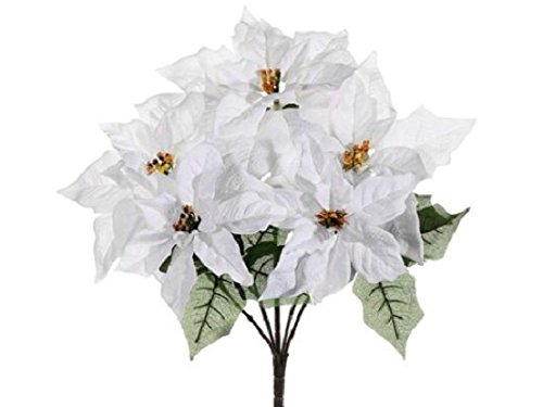 19'' Outdoor Water-Resistant Poinsettia Bush x5 Whit (Pack of 6) Silk Flower by Black Decor Home