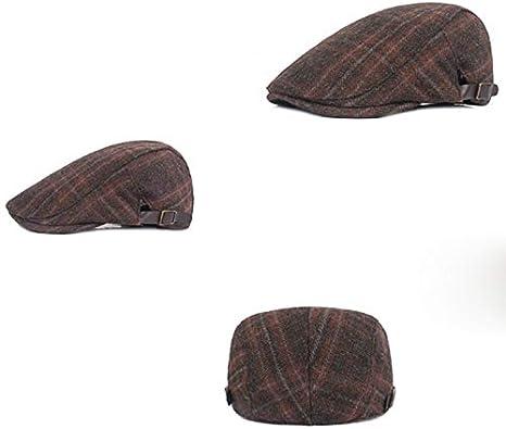 55-60 cm caqui mogist Raqueta Gorro Retro Tiempo Libre Mode cuadros tradicional algod/ón Flat Cap Gorra Hombre Boina