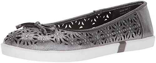 Kenneth Cole REACTION Women's Row-ing 2 Slip On Skimmer Bow Detail Ballet Flat, Pewter, 7.5 M US