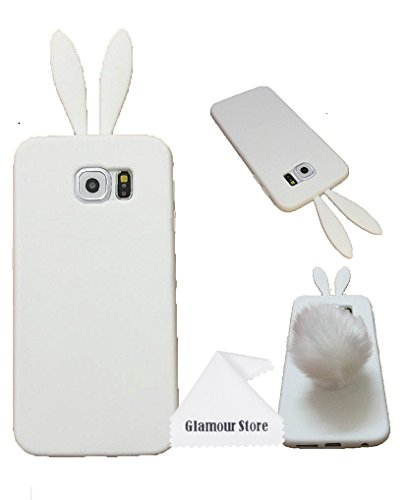 Bunny Skin Case - Galaxy S6 Case,Cute Lovely Rabbit Pattern Silicone Bunny Case Skin Cover Protective For Samsung Galaxy S6 With Furry Tail With Free Cleaning Cloth As a Gift,Not Fit For Samsung Galaxy S6 Edge (White)