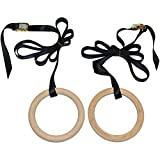 Prosource Fit Wooden Gymnastics Rings with Straps