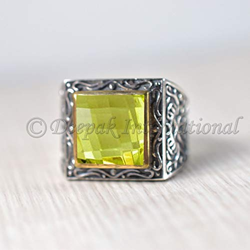 Yellow Gemstone RIng for Women birthstone ring for women Natural Citrine Ring in Oxidized Silver 925