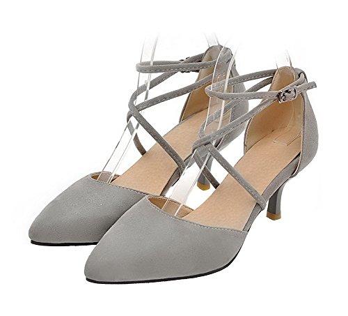 Ballet Medio Shoes Tacco Donna Grigio Flats AgeeMi Suede Chiusa Fibbia Punta Bqt8W