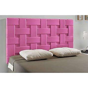 tte de lit tress similicuir couleur rose mesure lit de 120 cm - Lit En 120 Cm De Large