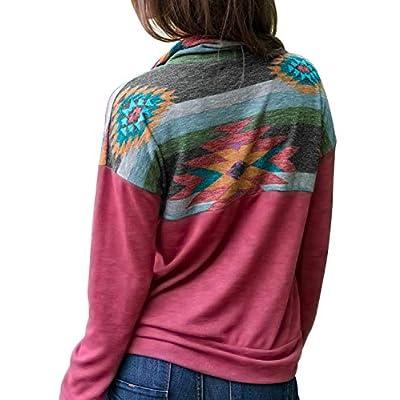 AlvaQ Women Quarter Zip Color Block Pullover Sweatshirt Tops with Pockets(9 Colors, S-XXL) at Women's Clothing store