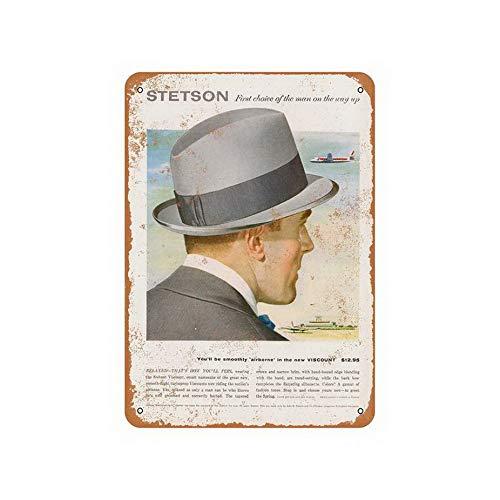 Uptell 8X12 Vintage Tin Sign Stetson Hats Wall Decor Art Metal Sign]()