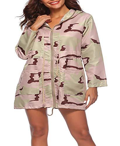 Mujer Casuales Outwear Moda Outdoor Pink Larga Manga Otoño Slim Vintage Primavera Chaquetas Con Camuflaje Fit Cruzadas Casual Mujeres Encapuchado Correas rrdqO