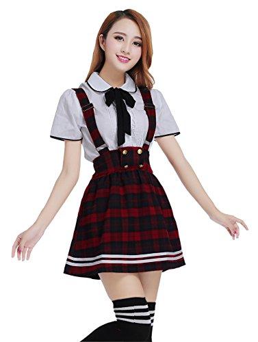 [Nuotuo Womens Lolita Sailor School Uniform Dress Suit CC604C-S (S,red plaid-1)] (Sailor Outfits For Ladies)
