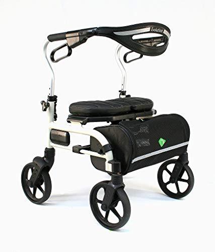 Evolution Lightweight Medical Walker Rollator with Seat, Large Wheels, Brakes, Backrest, Basket for Seniors Indoor Outdoor use (Mini, Pearl White)