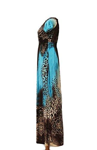 Dantiya Women's Plus Size Leopard Print V Neck Beach Summer Maxi Dress (XXL, 4)