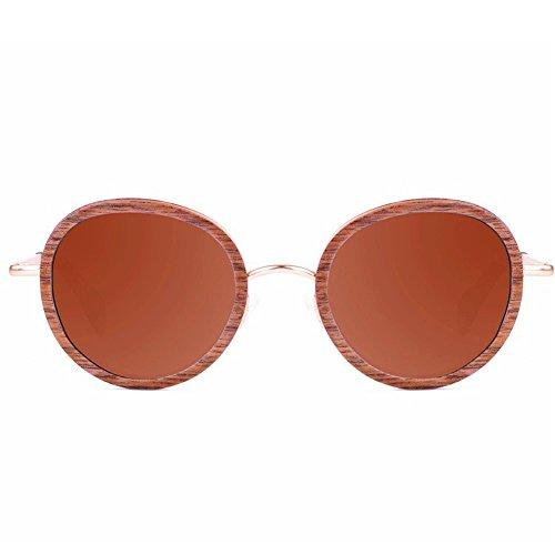 protección de polarizadas Madera Gafas a Gafas Hecho Retro TAC Exquisito pequeño Libre Metal de de Playa y Sol UV Mano Aclth Gafas de Redondo Estilo Pesca conducción Lente Aire Marrón esq Sol al de 7PZUxq4