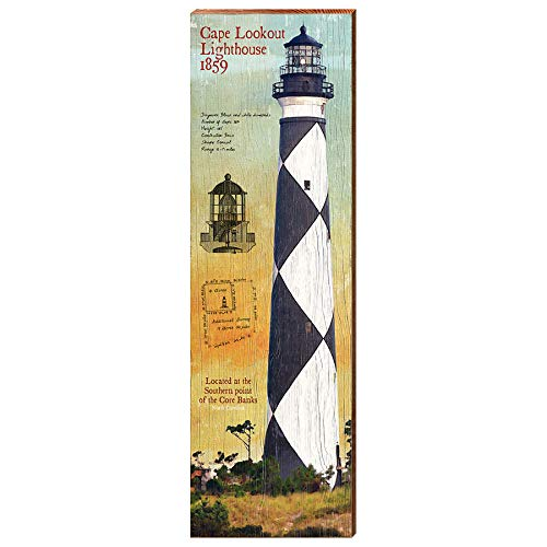 Cape Lookout Lighthouse Day Study Home Decor Art Print on Real Wood (9.5