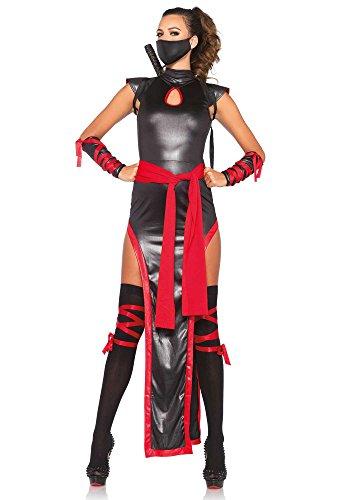 Leg Avenue Women's 5 Piece Shadow Ninja Costume, Black/Red, Large (Ninja Womens Costume)