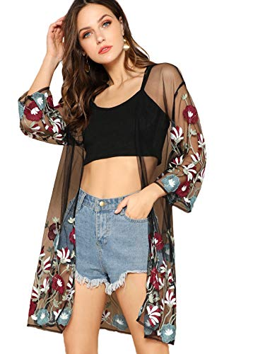 SheIn Women's Embroidered Floral See Through Kimono Cardigan Cape Mesh Cover Ups Black-1 L