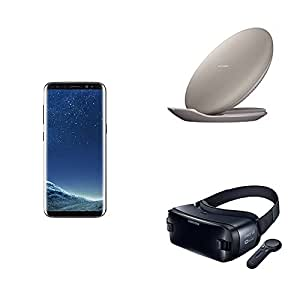Samsung Galaxy S8 64GB Unlocked Phone - US Version (Midnight Black) + 2017 Gear VR W/Controller + Fast Charge Wireless Charging Convertible Stand