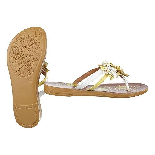 Ital-Design - Sandalias de vestir de Material Sintético para mujer Weiß Gelb