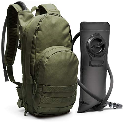 Tactical Molle Hydration Pack Backpack with 3L Water Bladder. Lightweight & Durable Military Daypack Keeps Water Cold Up to 4 Hours | for Hiking Running Cycling Camping Biking | Olive Drab Green (Hiking Olive Backpack)