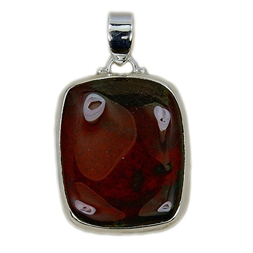 Sterling Silver Rare Red Bloodstone Pendant from Silver Plaza