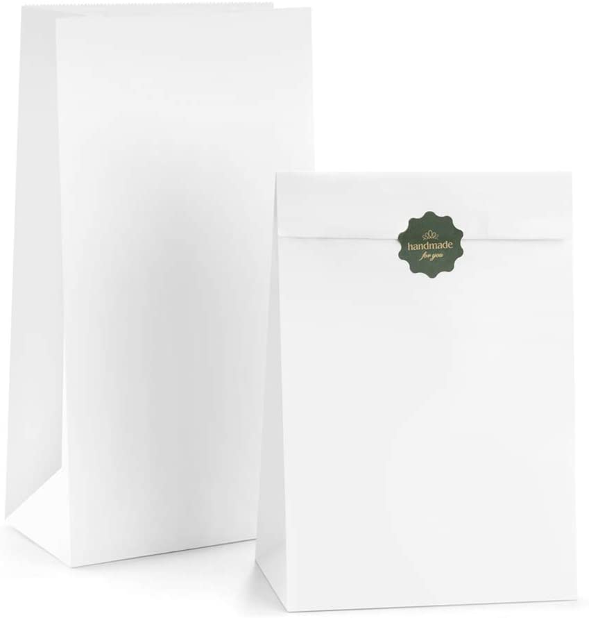 BagDream Paper Lunch Bags 12lb 50Pcs Kraft White Paper Bags, Bread Bags Paper Snack Bags 7x4.5x13.75 Inches Sack Lunch Bags