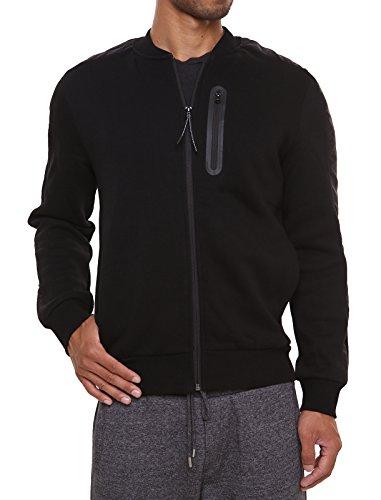 Fleece Sweatshirt Jacket Dotswarm Sweater-Comfort Front Zip Jacket Cozy Sport Outwear Casual,Black,Medium
