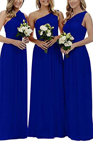 Staypretty Women's Long One Shoulder Bridesmaid Gown Asymmetric Prom Evening Dress Royal Blue 10 ()