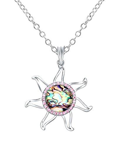 CHUANGYUN Seven-Point Windmill Rhinestone Circle Abalone Shell Necklace(pink)