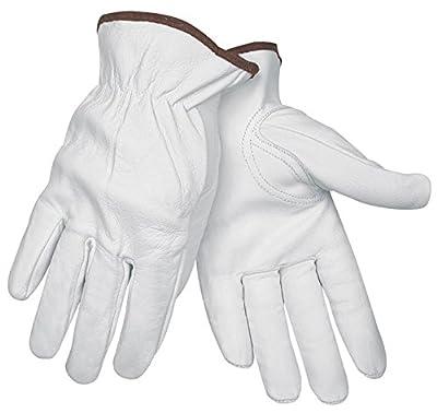 Memphis MCR Safety 3611 Premium Grain Goatskin Driver Gloves with Keystone Thumb, White,