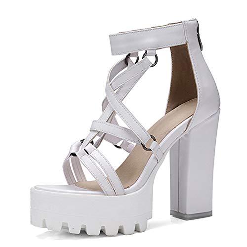 Woman Platform Sandals Summer Open Toe High Heels Zipper Leather Shoes Comfortable Big Size 34-42,White,8 - Lea White Adult Shoes
