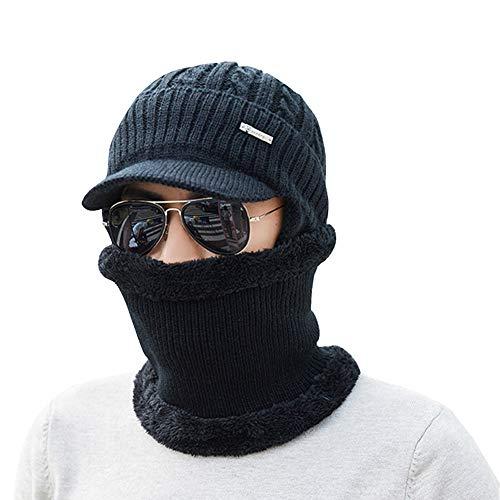 2 Piece Beanie Hat Scarf Set Winter Warm Unisex Knit Hat Thick Knitted Skull Cap Earflaps Scarf Gift Set Men Women,Black