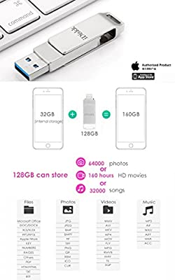 iDiskk USB 3.0 128GB Flash Drive for iPhone X Lightning,iPhone 6,iPhone 6s,iPhone 6 Plus,iPhone 5,iPhone 7 Plus, iPad, iPod,External Storage for iPhone iPad USB,Touch ID Encryption and MFI Certified