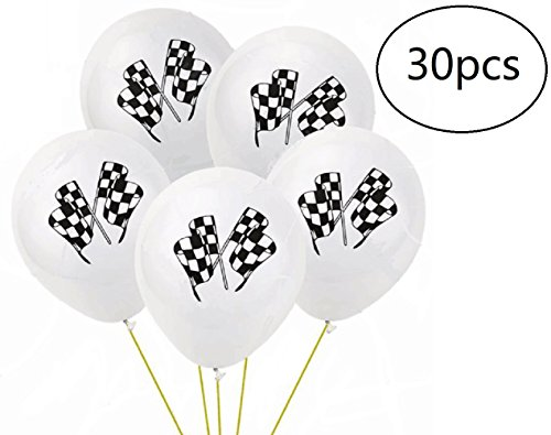 EBTOYS 30pcs Checkered Racing Flags Latex Balloons for Race Car Themed Birthday Party Decor ,10in