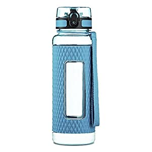 Swig Savvy Sports Water Bottle - with Silicone Sleeve. Fruit Infuser Water Bottle Filter and Leak Free Flip Top, EZ Open with One Click,Tritan Co-Polyester Plastic,Blue,16oz