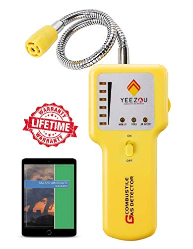 Gas Detector Sensor - Natural Gas Detector, Propane Gas Leak Detector, Gas Sniffer, Portable Combustible Explosive Gas Sensor, Tester: Methane, Butane, LPG, LNG; Sound & LED Warning, Flexible Sensor Neck; eBook