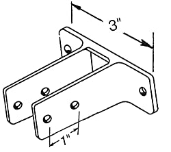 """Chrome Plated Zamac Two Ear Urinal Screen Bracket to Hold 1"""" Thick Panel. Extra Long. 3"""" Between Mounting Holes"""