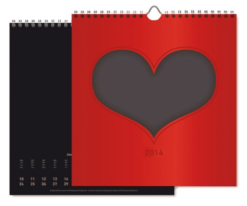 Foto-Bastelkalender Herz 2014 datiert, schwarz: Do it yourself calendar