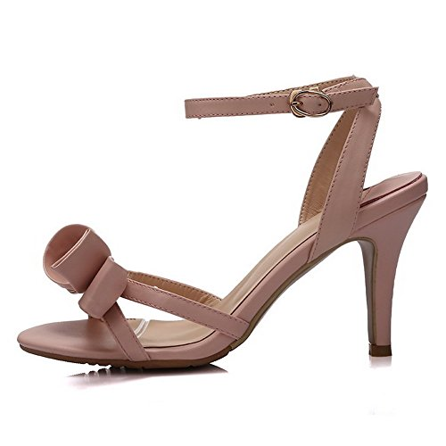 Solid Leather Buckle High Sandals Open Cow Toe Pink Womens AllhqFashion Heels Rw7qnHxBn5