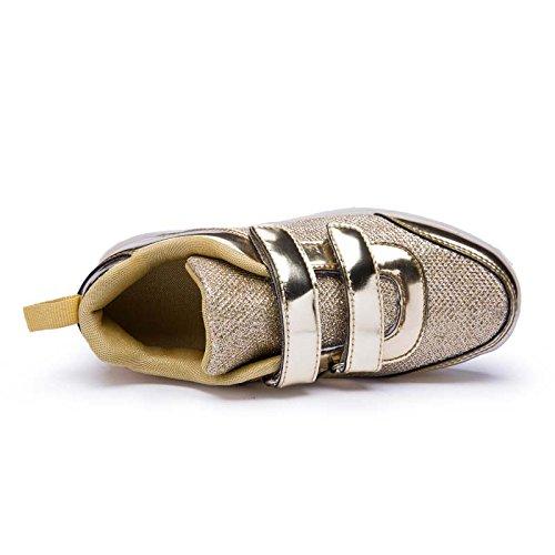 DoGeek LED Schuhe Kinder Damen 7 Farbe USB Aufladen Leuchtend Sportschuhe LED Kinder Farbwechsel Sneaker Turnschuhe Für Herren Damen (Bitte Bestellen Sie Eine Nummer grösser) Gold