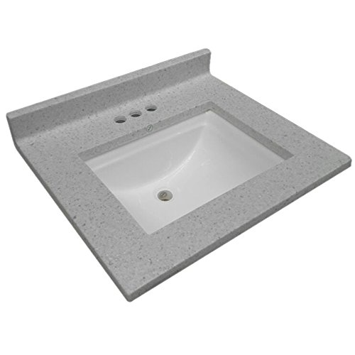 Design House 563528 Cultured Marble Single Wave Bowl Vanity Top 25x22, Frost, 25