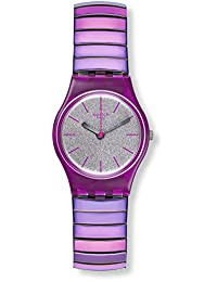 SWATCH WOMEN'S PURPLE STEEL BRACELET PLASTIC CASE SWISS QUARTZ WATCH LP144B