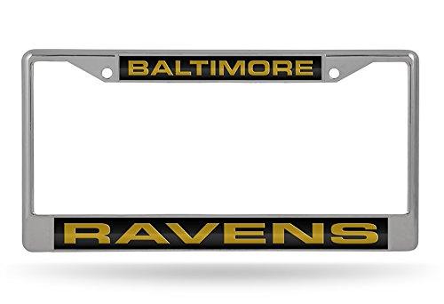 NFL Baltimore Ravens Laser Cut Inlaid Standard Chrome License Plate Frame, Chrome