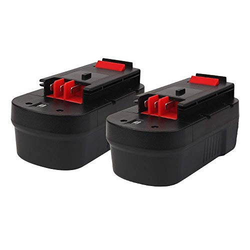 Masione 18V 3.0Ah Replacement Battery for Black & Decker HPB18 HPB18-OPE 244760-00 A1718 A18 A18E Firestorm FS18BX FS18FL FS180BX FSB18 NST2118 Cordless Power Tools (2 Pack) ()