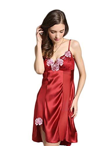Smanicato V Vintage Fashion Vestito Donna Eleganti Fiori Da Ricamate Camicie Nightdress Pigiami Women Winered neck Senza Schienale Giovane Notte Fionda Estivi z7zAtpSP