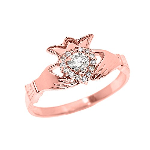 Dainty 14k Rose Gold Diamond Heart and Crown Claddagh Engagement Proposal Ring (Size 7.5)