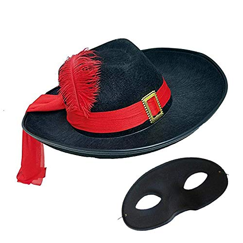 Black Three Musketeers Hat with Zolo Eye Mask Costume Set]()